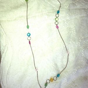"""Vintage 54"""" silver tone chain multicolored beads"""